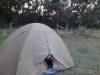 Jana schaut vorsichtig aus dem Zelt