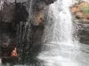 Tinka kühlt sich im Wasserfall ab