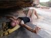 ausgedehnte Pause nach längerer Schlepperei bei strahlendem Sonnenschein und 36°C